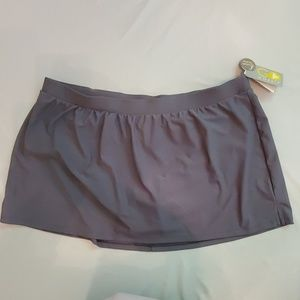 Gossip Womens Swimwear Skort Bottom, 2X, Grey NWT